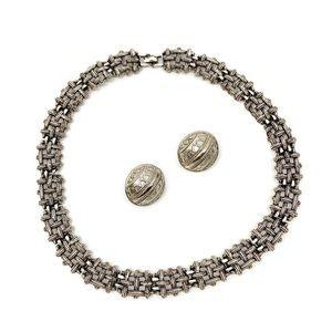 Vintage Silver Statement Necklace Earring Bundle